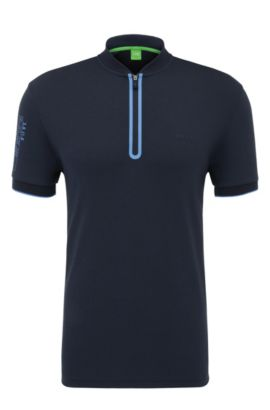 Regular-fit polo shirt in cotton with logo print: 'Pariq', Dark Blue