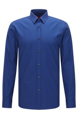 Extra Slim-Fit Hemd aus strukturierter Stretch-Baumwolle: 'Elisha', Blau