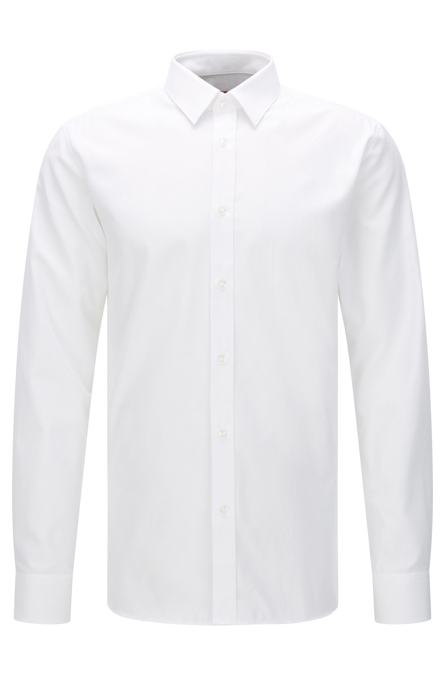 Extra slim-fit overhemd van gestructureerde katoen: 'Elisha'
