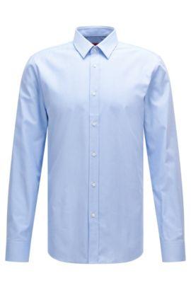Extra slim-fit overhemd van gestructureerde katoen: 'Elisha', Lichtblauw