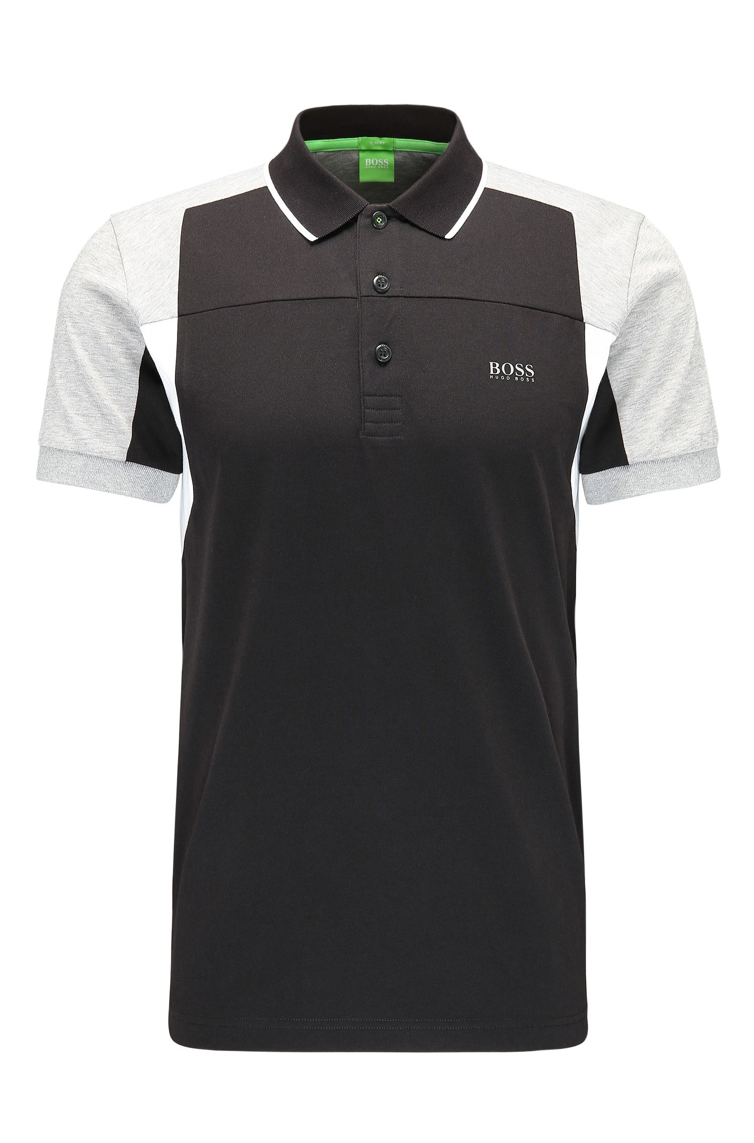 Slim-Fit Polo aus Baumwoll-Mix in Colour-Block-Optik: ´Paule 6`