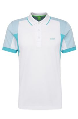 Slim-fit polo van een katoenmix in colourblocklook: 'Paule 6', Wit