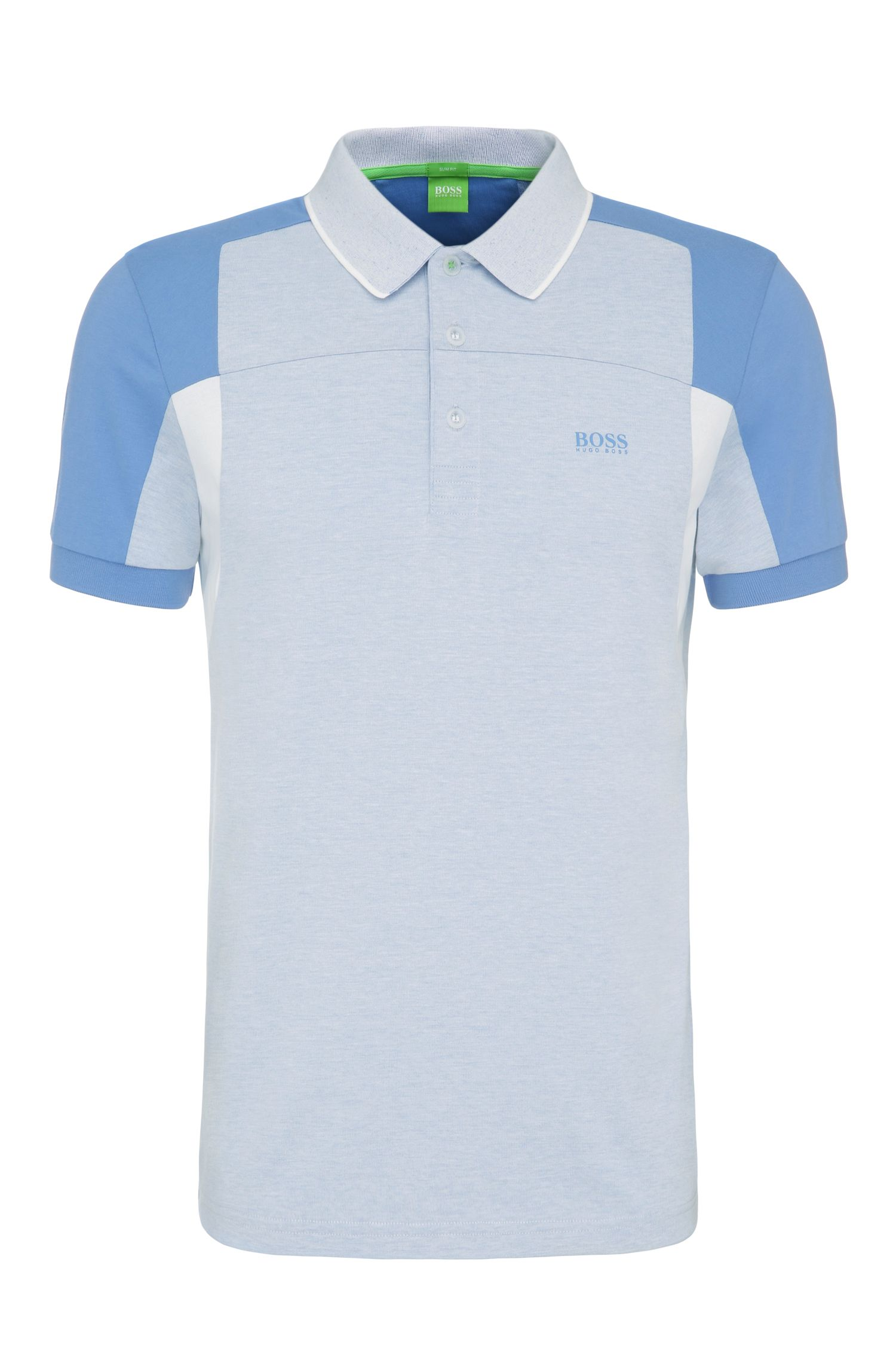 Slim-fit polo shirt in cotton blend in colour-block look: 'Paule 6'