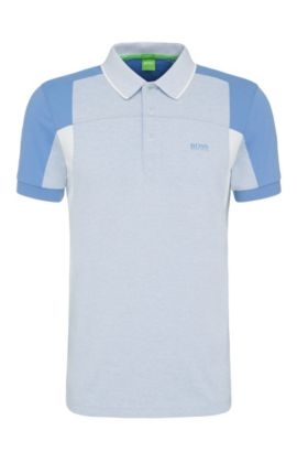 Slim-fit polo shirt in cotton blend in colour-block look: 'Paule 6', Blue
