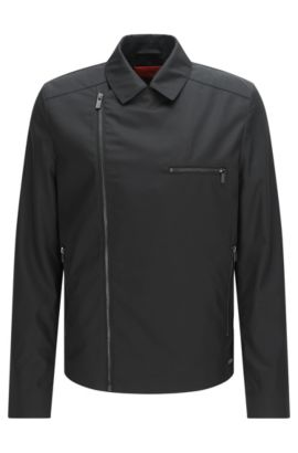 Jacket in material blend with asymmetric zip: 'Bexton', Black