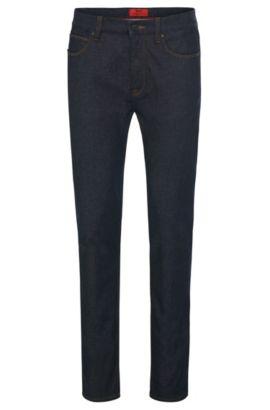 Vaqueros skinny fit en mezcla de algodón con aspecto aclarado: 'HUGO 734', Azul oscuro