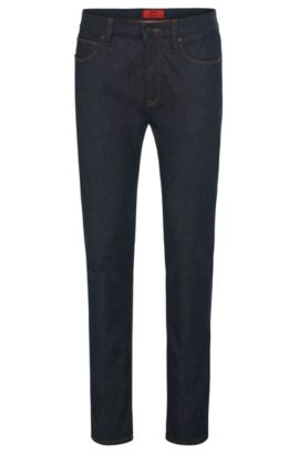 Skinny-fit jeans van een katoenmix in rinsed-look: 'HUGO 734', Donkerblauw