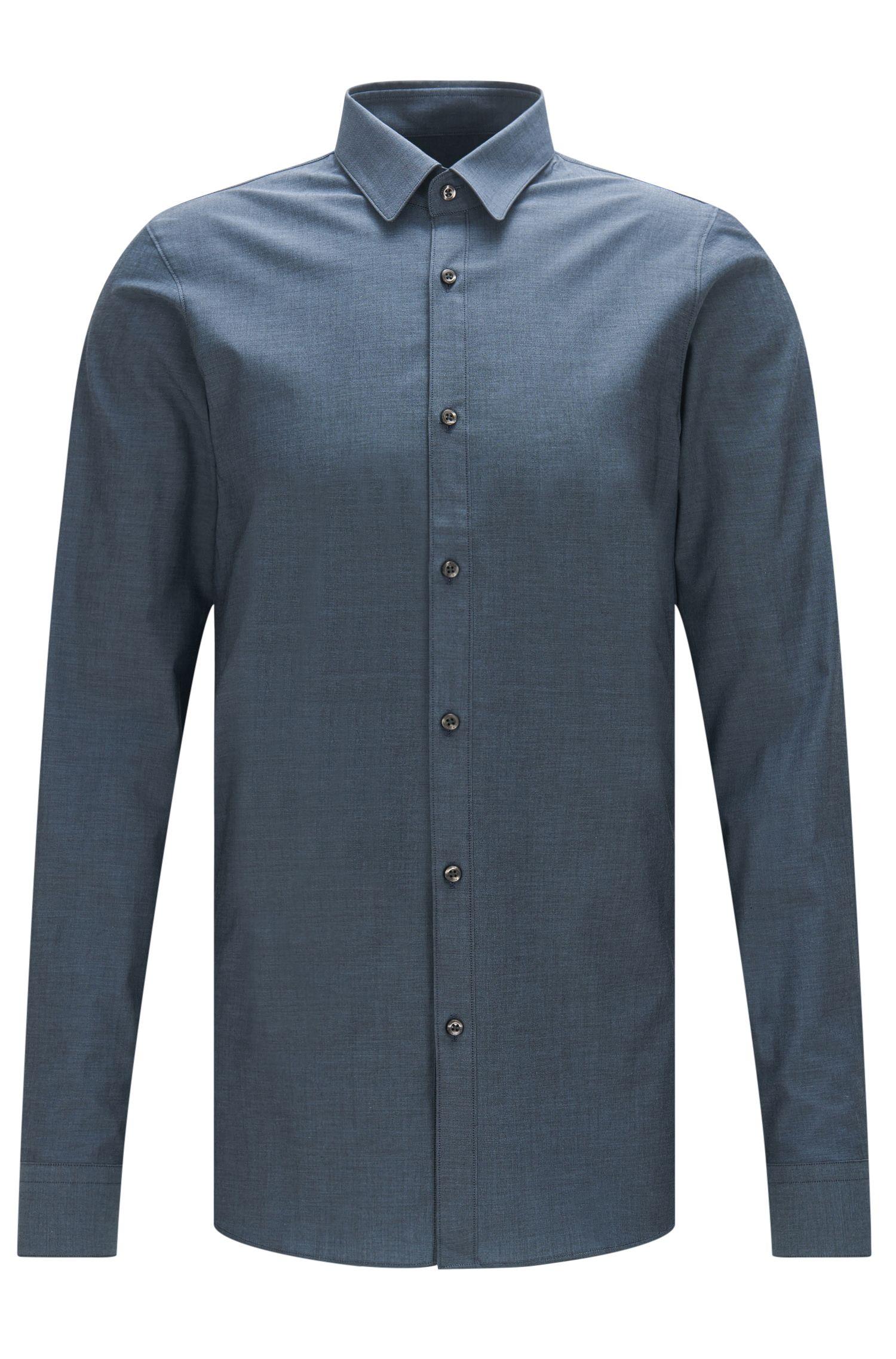 Camicia extra slim fit in cotone con delicato effetto mélange: 'Efi'