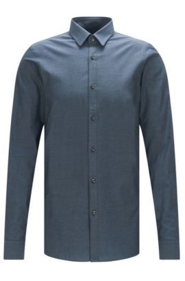 Camisa extra slim fit en algodón con discreto aspecto jaspeado: 'Efi', Azul oscuro