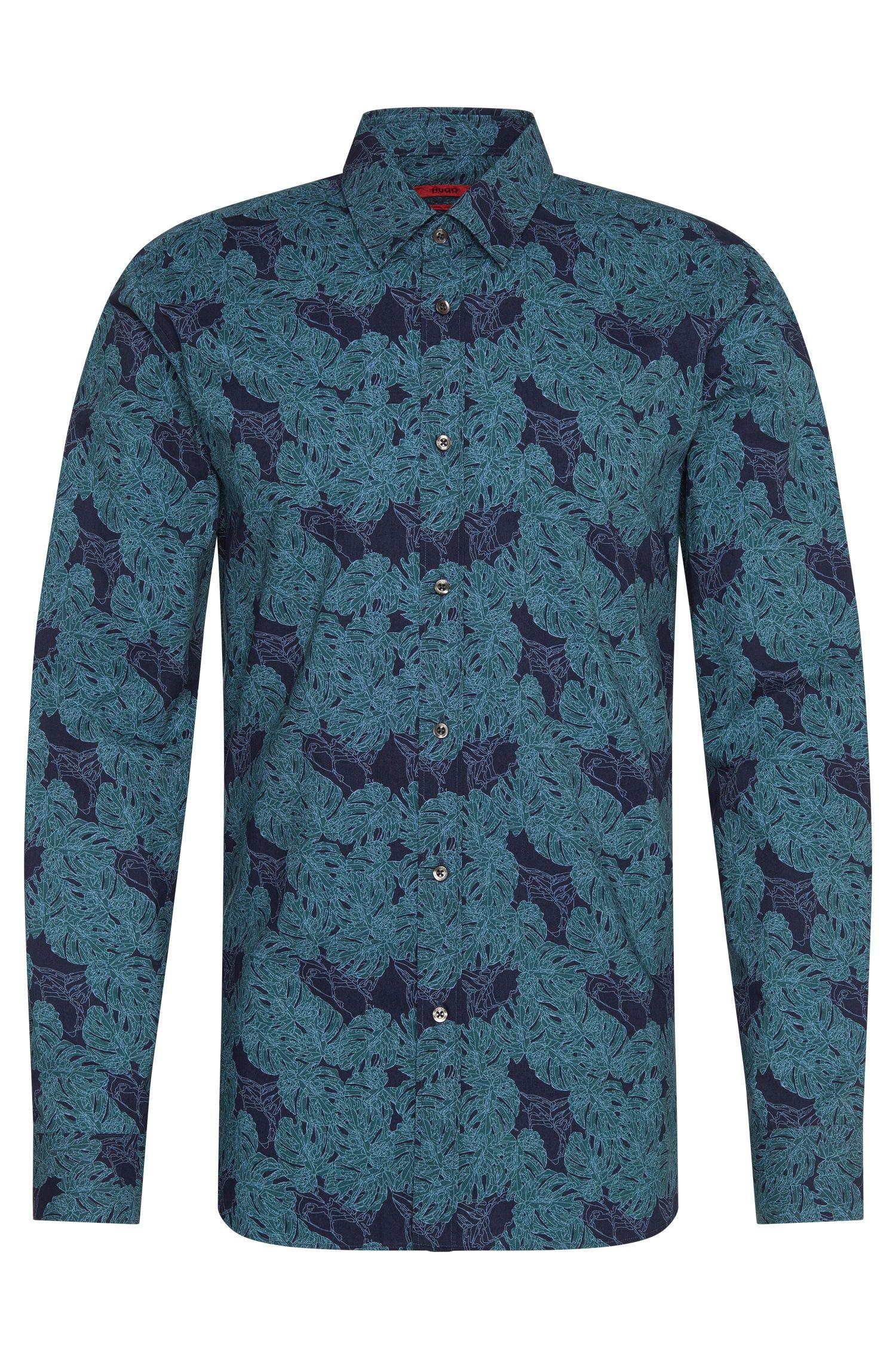 Camicia extra slim fit a disegni floreali in cotone: 'Elisha'