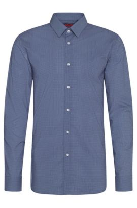 Finely patterned extra-slim fit shirt in cotton: 'Elisha', Blue