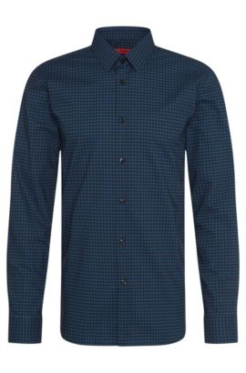 Checked extra slim-fit shirt in cotton: 'Elisha', Black