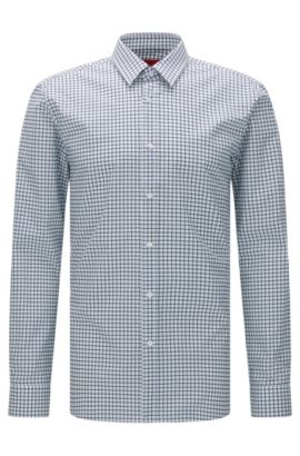 Kariertes Extra Slim-Fit Hemd aus Baumwolle: 'Elisha', Grün