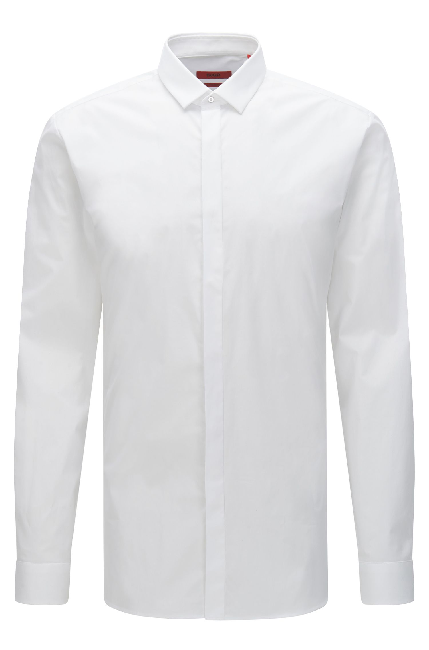 Chemise Extra Slim Fit en coton stretch à patte de boutonnage invisible : « Ebros »