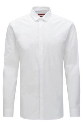 Extra Slim-Fit Hemd aus Stretch-Baumwolle mit verdeckter Knopfleiste: 'Ebros', Weiß