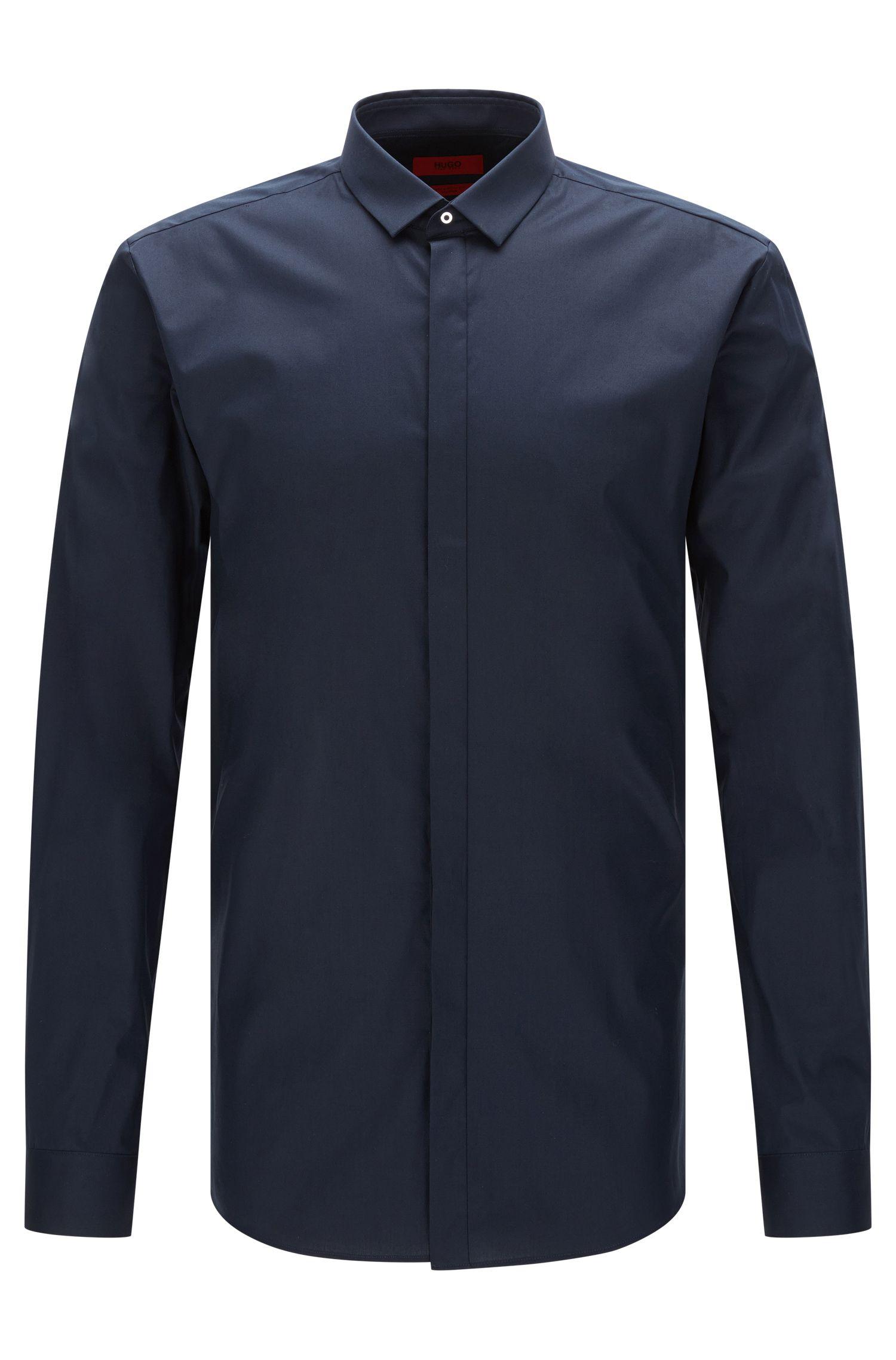 Camisa extra slim fit en algodón elástico con tapeta de botones oculta: 'Ebros'