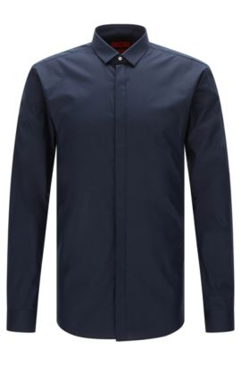 Extra slim-fit shirt in stretch cotton with concealed button placket: 'Ebros', Dark Blue