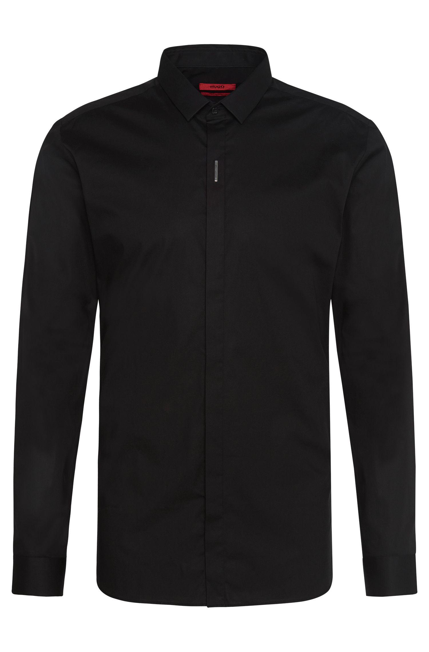 Extra slim-fit overhemd van stretchkatoen met verdekte knoopsluiting: 'Ebros'