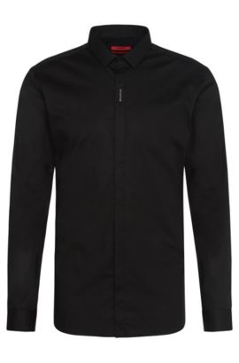 Extra slim-fit shirt in stretch cotton with concealed button placket: 'Ebros', Black