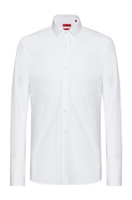 Extra-slim-fit shirt in stretch-cotton poplin, White