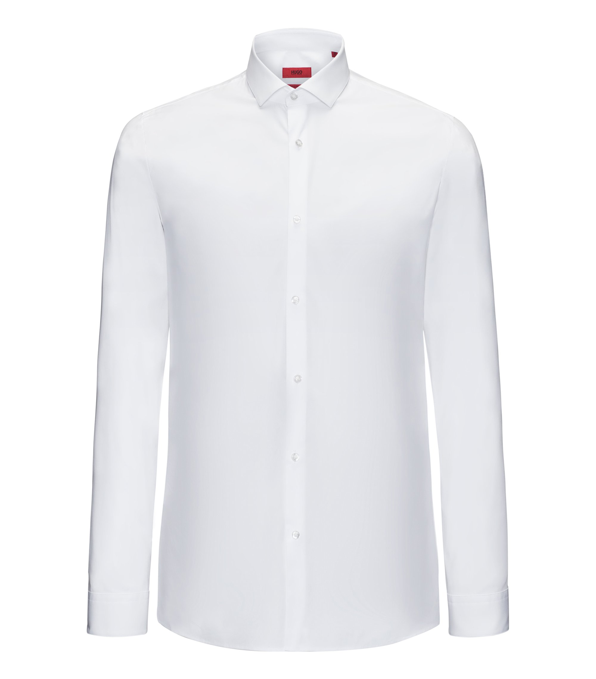 Chemise Slim Fit en coton stretch, Blanc