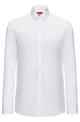 Camisa slim fit en algodón elástico, Blanco