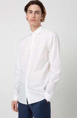 Fit Extra Elasticizzato In Slim Camicia Di Cotone Popeline 3RA4Lqj5
