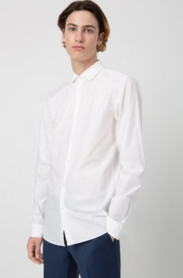 Extra-slim-fit shirt in stretch-cotton poplin, White