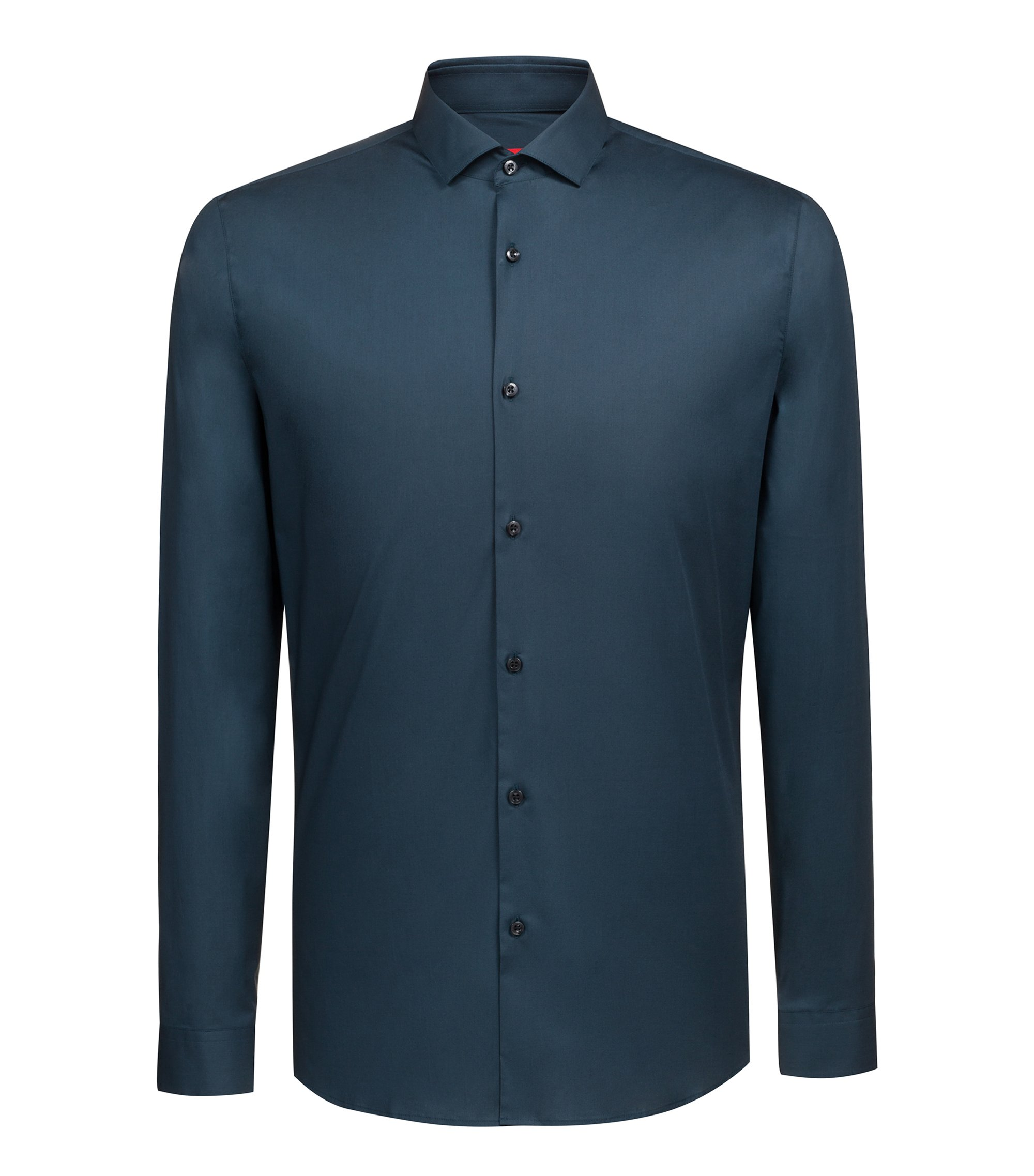 Slim-fit shirt in stretch cotton, Dark Green