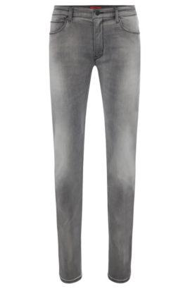 Slim-Fit Jeans aus elastischem Baumwoll-Mix mit Used-Waschung: 'HUGO 708', Silber