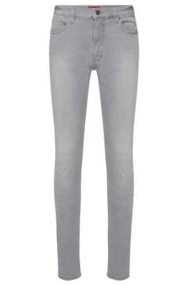 Skinny-fit jeans van een elastische katoenmix: 'HUGO 734', Zilver