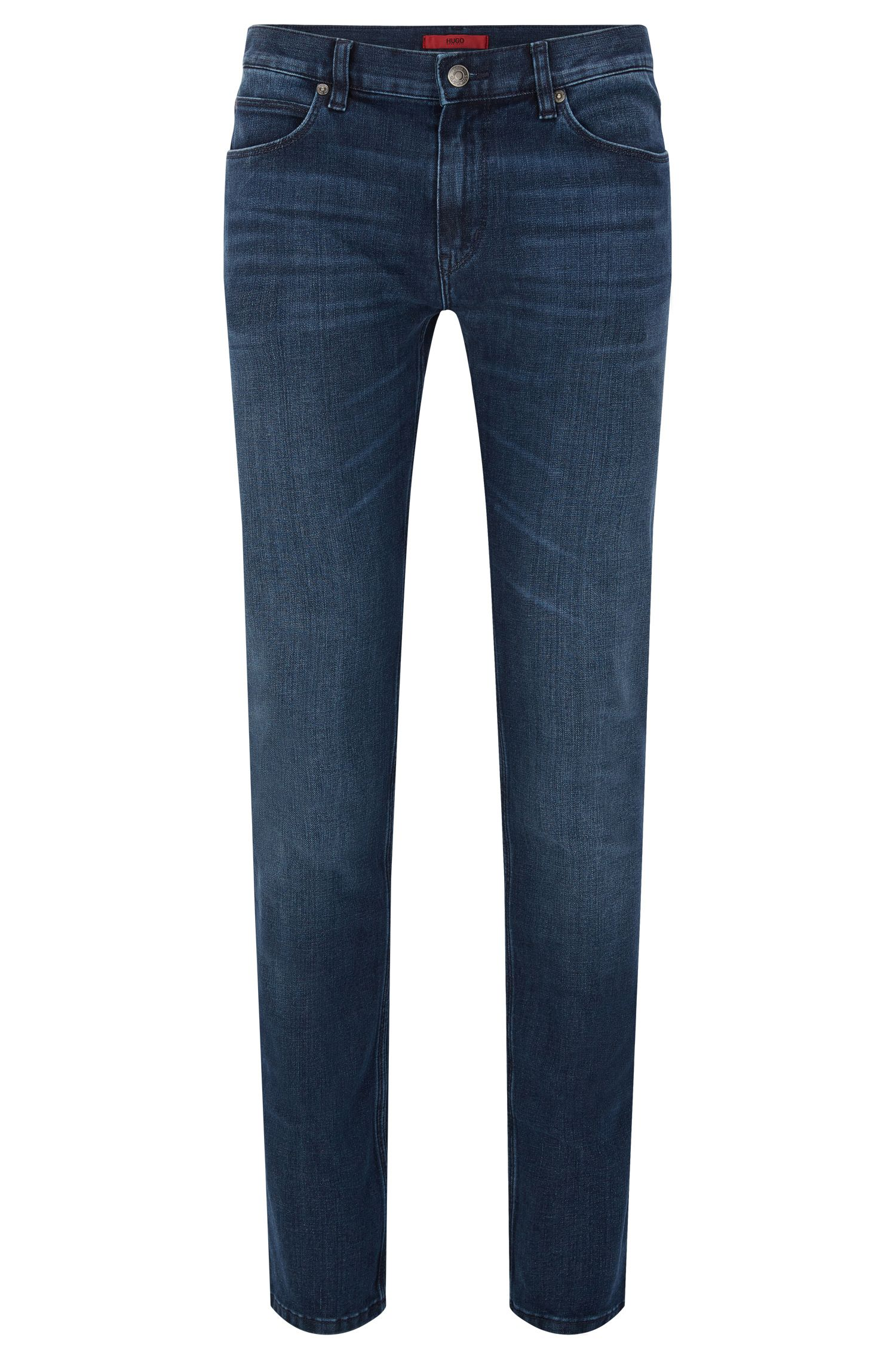 Slim-fit jeans in stretchy cotton blend with used wash: 'HUGO 708'