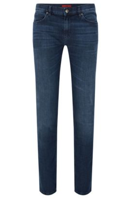 Slim-fit jeans in stretchy cotton blend with used wash: 'HUGO 708', Blue