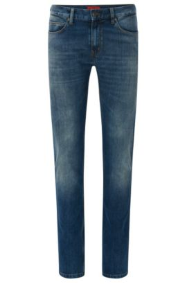 Slim-fit jeans in stretchy cotton blend with used wash: 'HUGO 708', Light Blue