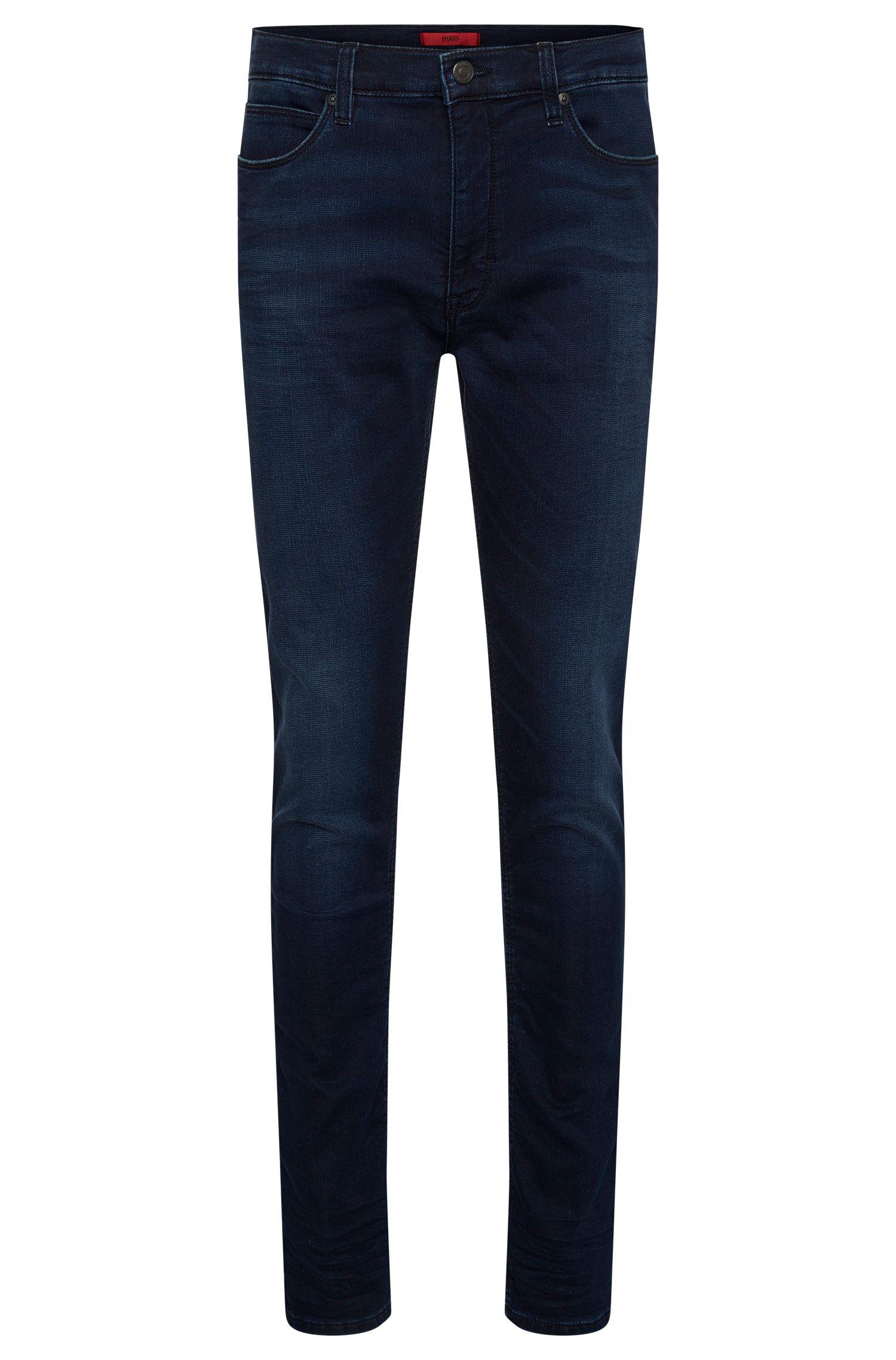Skinny-Fit Jeans aus elastischem Baumwoll-Mix mit Used-Waschung: 'HUGO 734'