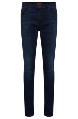 Slim-fit jeans in stretchy cotton blend with used wash: 'HUGO 734', Dark Blue