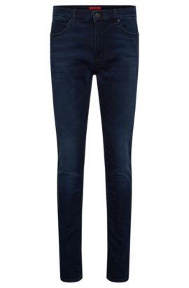 Skinny-Fit Jeans aus elastischem Baumwoll-Mix mit Used-Waschung: 'HUGO 734', Dunkelblau