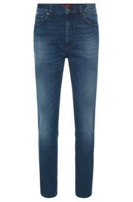 Slim-fit jeans in stretchy cotton blend with used wash: 'HUGO 332', Blue