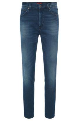 Jeans Slim Fit en coton mélangé extensible au délavage usé: «HUGO 332», Bleu