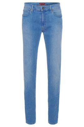 Jeans Skinny-Fit en coton mélangé extensible avec effet délavé: «HUGO734», Bleu