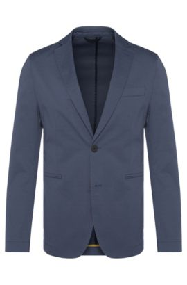 Patterned slim-fit jacket in stretch cotton: 'Norvid-W', Open Blue