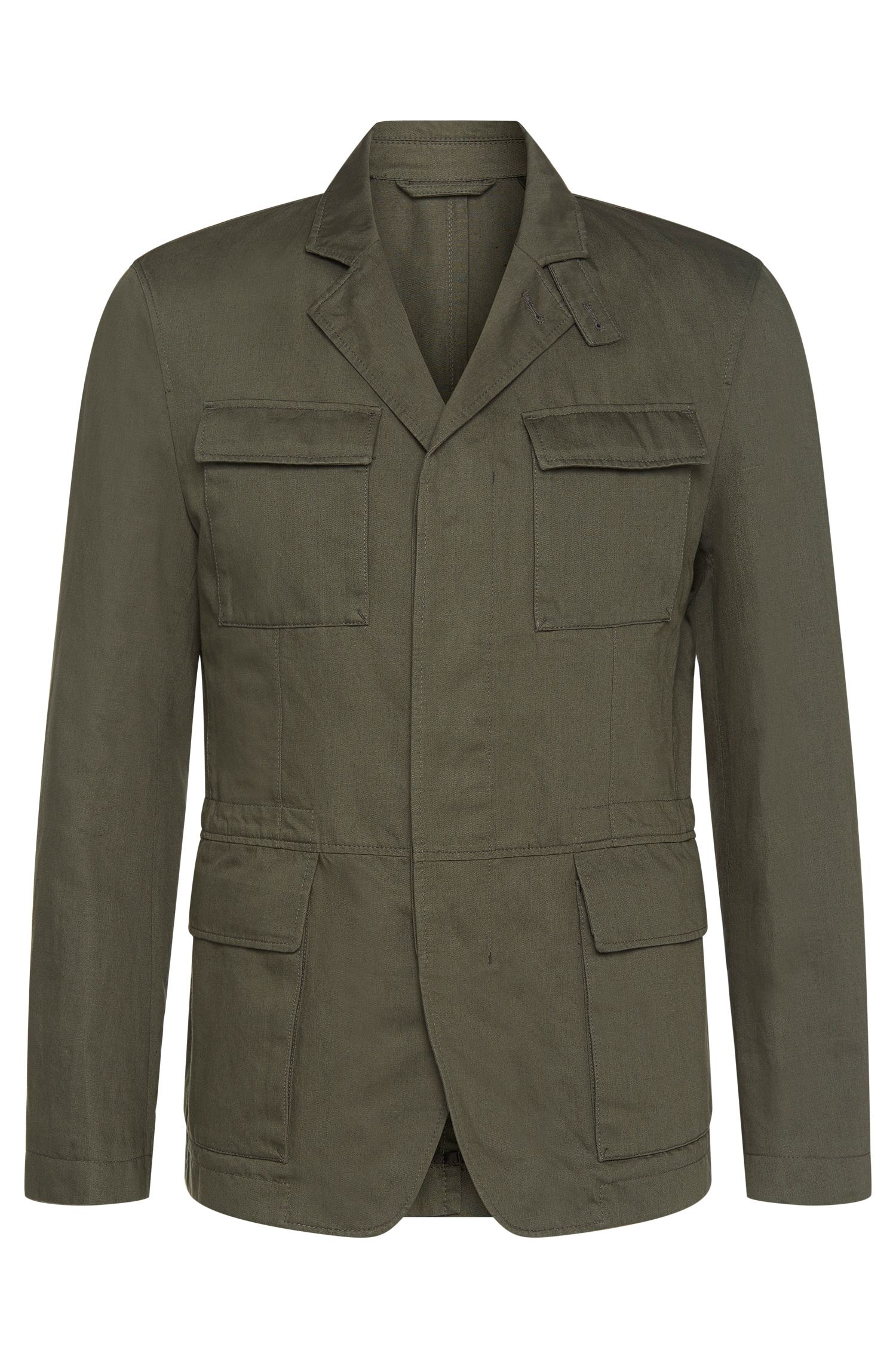Jacket in cotton blend with linen in military design: 'Nelio-W'