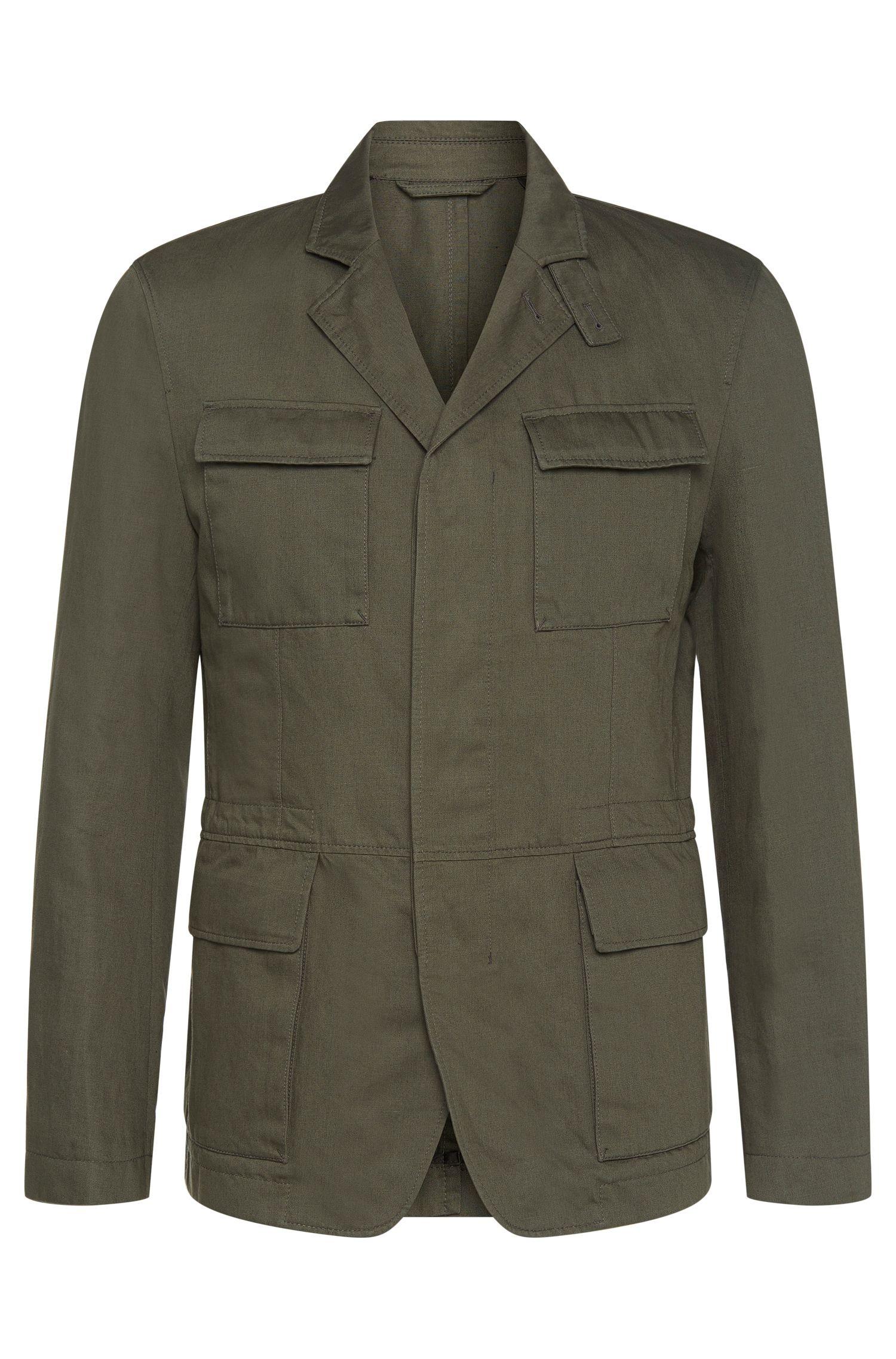 Americana en mezcla de algodón con lino y un diseño militar: 'Nelio-W'