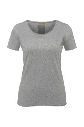 T-shirt en coton Slim Fit à imprimé métallisé: «Tashirt», Gris