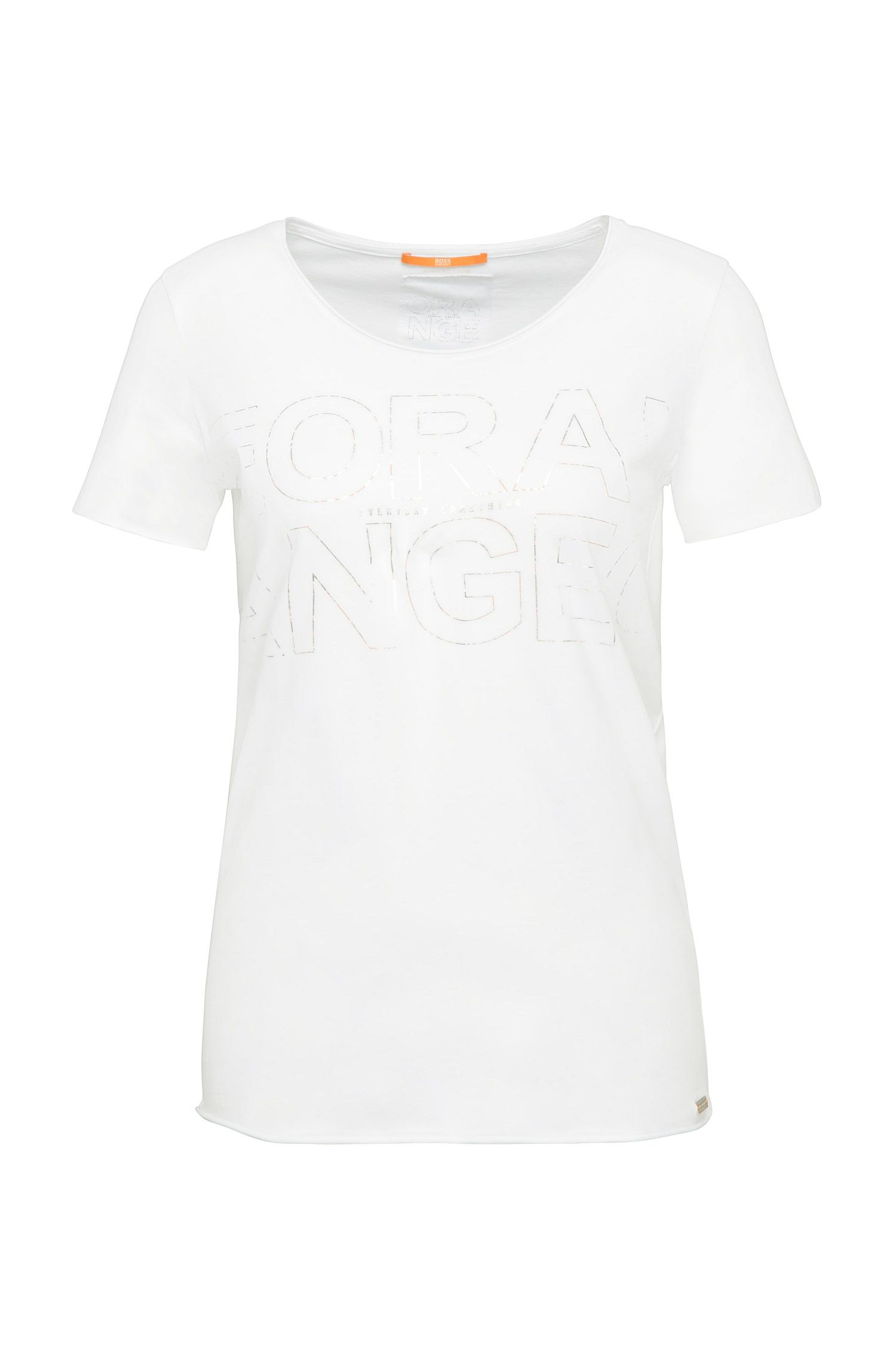 Slim-fit shirt van katoen met metallic print: 'Tashirt'