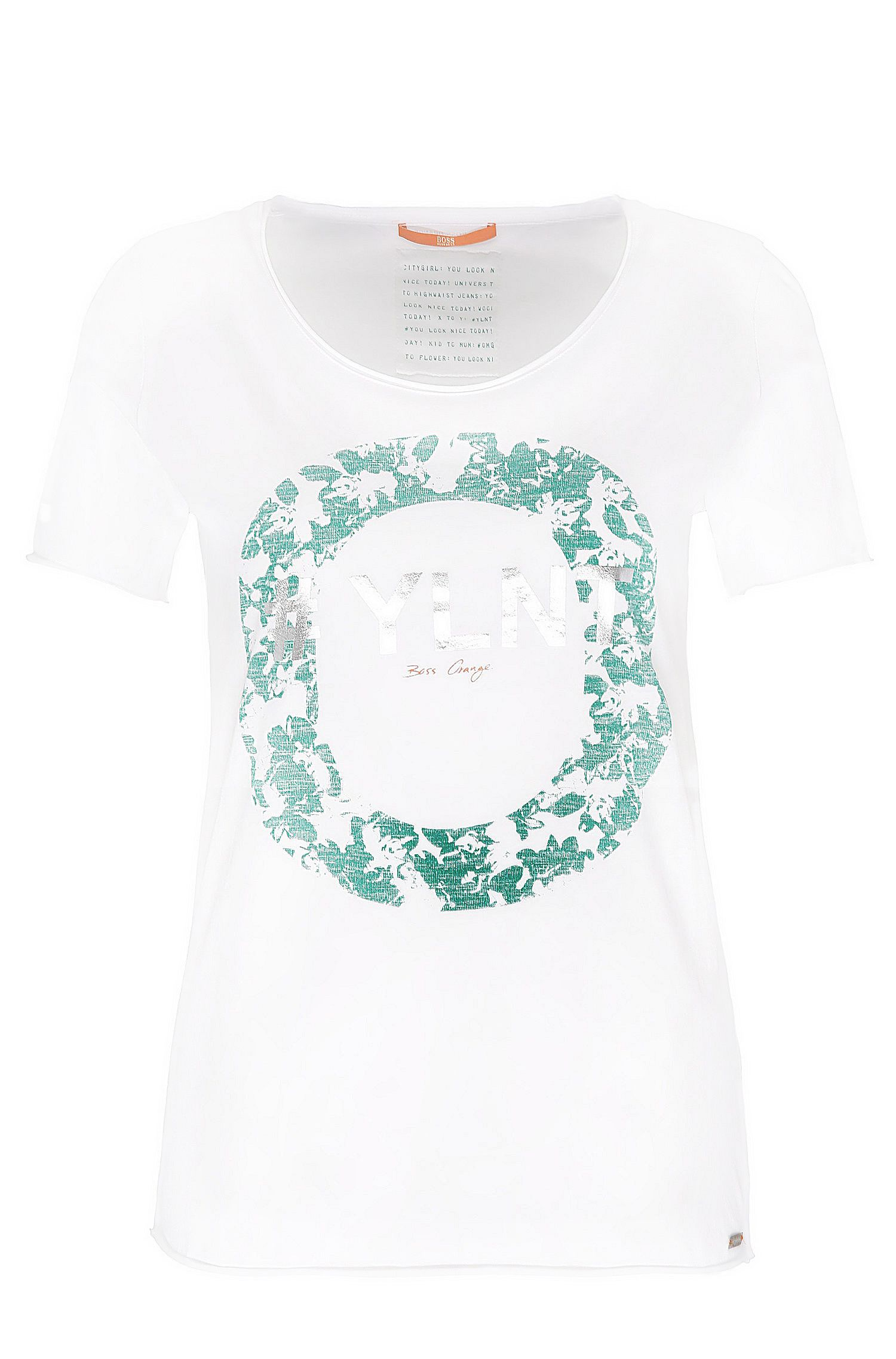 Slim-fit cotton t-shirt with metallic front print: 'Tishirt'
