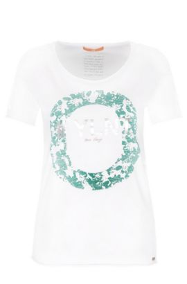 Slim-fit cotton t-shirt with metallic front print: 'Tishirt', White