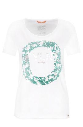 Slim-fit cotton t-shirt with metallic front print: 'Tishirt', White