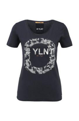 Slim-Fit T-Shirt aus Baumwolle mit Metallic-Frontprint: ´Tishirt`, Dunkelblau