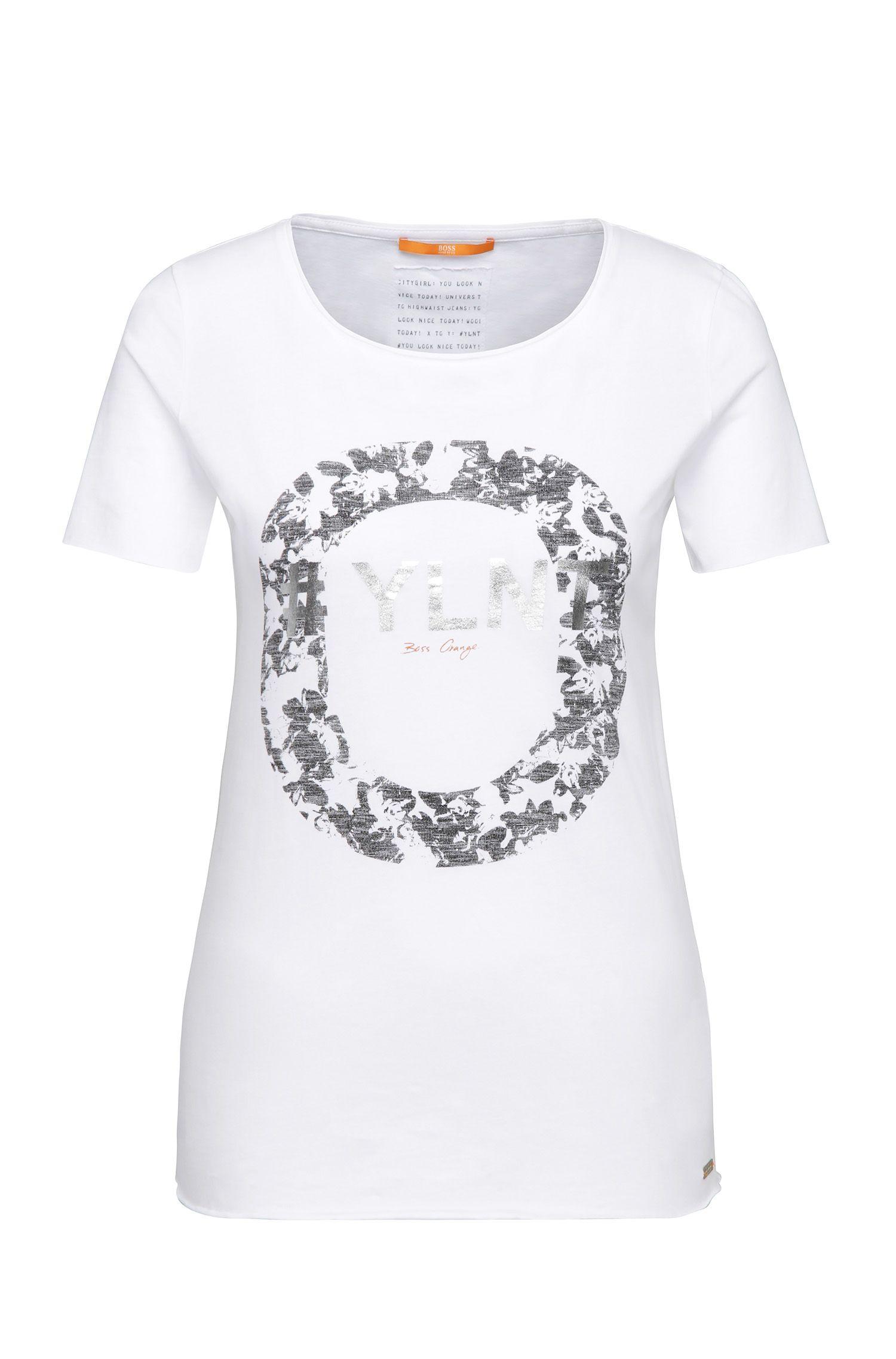 Slim-Fit T-Shirt aus Baumwolle mit Metallic-Frontprint: ´Tishirt`